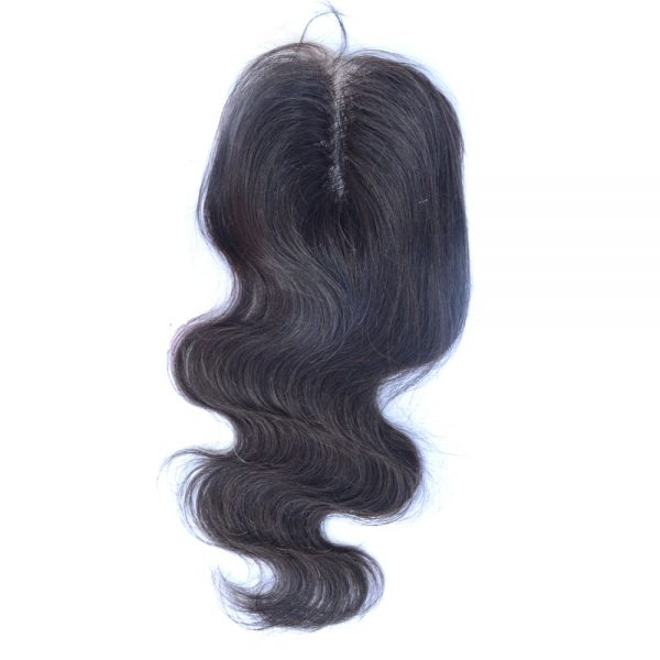 Hair By Mahogany 100% virgin luxury hair closure in body wave texture.