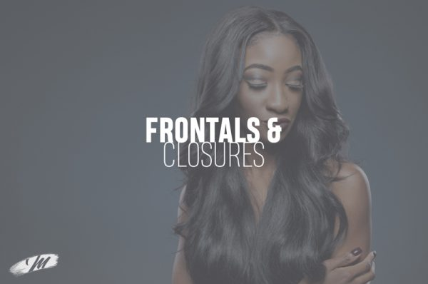 Hair by Mahogany Frontals & Closures featuring African model with long straight wavy hair.